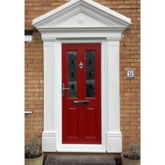 Our popular Victorian Odysseus GRP (fibreglass) Door Surround is made up of two side columns /pillars / pillasters and a pitched canopy top with a decorative motif i Exterior Doors With Sidelights, Arched Front Door, Front Door Canopy, Front Entry, Front Porch, Victorian Door Canopy, Victorian Front Doors, Door Canopy Traditional, Grp Doors