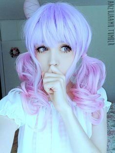Kawaii Pastel makeup inspiration | Anzujaamu circle lenses pink purple wig