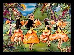 "SUSAN PATRICIA.""Dance"" hula dancers Hawaiian art"