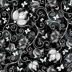 129 best black and white flowers background images on pinterest seamless black and white floralg 450450 mightylinksfo