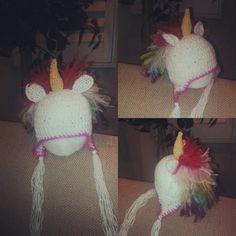 Crocheted newborn unicorn beanie