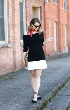 Amazing colorblock dress with red accent scarf and flats