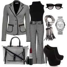 business attire A fashion look from October 2013 featuring sleeveless turtleneck tops, gray blazer and grey trousers. Browse and shop related looks. Mode Outfits, Office Outfits, Winter Outfits, Casual Outfits, Fashion Outfits, Woman Outfits, Office Attire, Casual Attire, Teacher Outfits