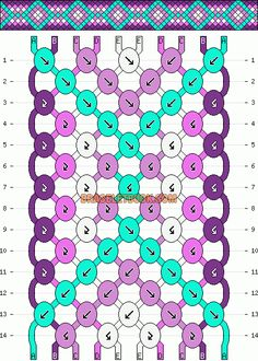 Normal friendship bracelet pattern added by diamonds squares gradient bordered. Macrame Bracelet Patterns, Macrame Bracelet Tutorial, Macrame Patterns, Macrame Jewelry, Macrame Bracelets, Friendship Crafts, Diy Friendship Bracelets Patterns, Floss Bracelets, Thread Bracelets