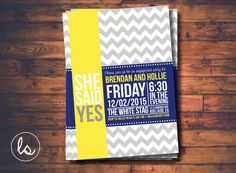 She Said Yes, Grey Chevron Engagement Invitation ~ DIY PRINTABLE ~ Professional Printing with postage and envelopes included