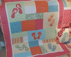 Patchwork and Embroidered quilt in coastal bright colors with your favorite sand trippin' shoes, Flip Flops! Fresh design is a crowd pleaser whether for young ones or your waterside hangout. Here's th