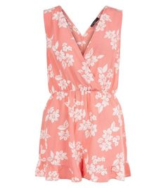 Petite Pink Floral Print Frill Playsuit | New Look