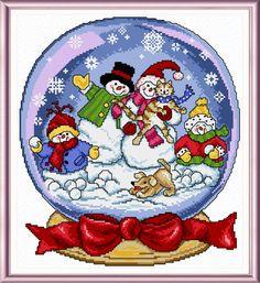 Snow Globe Family - cross stitch pattern designed by Ursula Michael. Category: Snowmen.