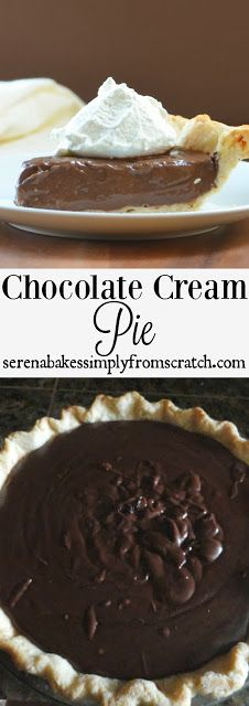 Chocolate Cream Pie With a dairy free. A perfect pie for your Thanksgiving or Christmas party! serenabakessimplyfromscratch.com