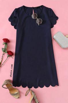 Scallop Trim Solid Dress Sapato Tumblr 24b3639eb