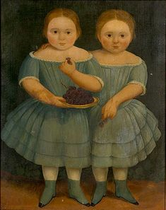 """""""Emmett Twin Girls"""" vers 1860, huile toile, peintre anonyme, collection privée."""
