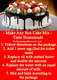 How to Upgrade a Store Bought Cake Mix to Make it Taste Like it Came From a Bakery. Baking - Frugal - Homesteading