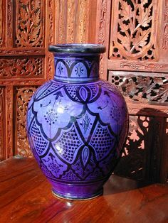 Moroccan terracotta vase in traditional blue design. http://www.maroque.co.uk/showitem.aspx?id=ENT01488&p=00739&n=all