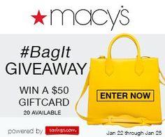 887ed9f2b596  Closed  Macy s  50 Gift Card Giveaway (20 winners)