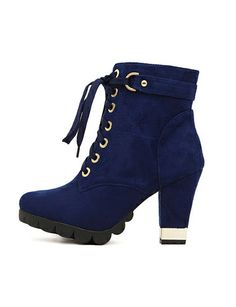 Korean Style Lace-Up Short Boots with Chunky Heel-modern boots, chunky heel, fashion shoes, boots for women
