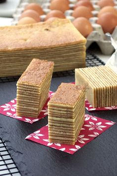Kueh lapis legit is an Indonesian layer cake that takes after the Dutch spekkoek. This cake is grilled layer by layer to produce the striped effect. It is popular during celebrations in Indonesia, Malaysia and Singapore.