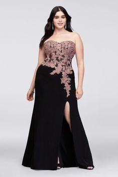 d3a87ec0e68 This plus-size jersey sheath dress features trailing corded lace floral  appliques atop a sheer