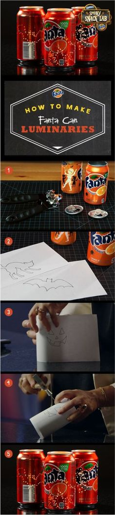 Limited edition Halloween Fanta can designs make a fun addition to your Halloween décor, especially when you turn them into spooky luminaries.: