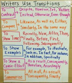 ELA Anchor Charts: Transitional Words Working with Stock chart along with Topographical Routes 7th Grade Writing, 7th Grade Ela, Middle School Writing, Middle School English, 7th Grade English, 7th Grade Reading, Fourth Grade, Grammar Anchor Charts, Science Anchor Charts