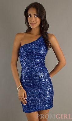 One Shoulder Sequin Short Dress at PromGirl.com