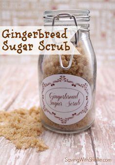 Homemade Gingerbread Sugar Scrub with printable gift tags. Perfect for the holidays. #DIY #Christmas