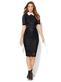 Shop Collared Lace-Overlay Sheath Dress . Find your perfect size online at the best price at New York & Company.