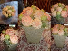 Cupcake & Cake Pop Bouquet : Design Idea - Bouquet with piped Begonia and Swirled Rose Cupcakes & sage colored cake pop accents