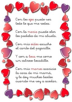 Poema infantil sobre los sentidos para educación infantil Preschool Spanish, Spanish Classroom, Teaching Spanish, Spanish Greetings, Spanish Alphabet, Fluency Practice, Spanish Songs, Teachers Toolbox, Valentine Crafts For Kids