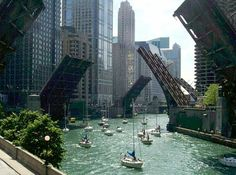 Bridges open on the river for people to get their boats to their harbor at the start the sailing season