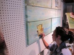 """Pegboard wall to act as """"adjustable"""" wall easel..."""
