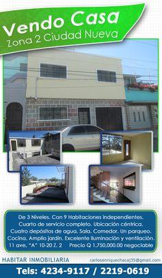 Venta de Casa en Zona 2 Ciudad Nueva  HABITAR Inmobiliaria PBX (502) 4234-9117 y 2119-0619  http://www.guatepubli.info/habitare/1a.html