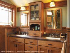 Minneapolis bath remodeled with Fieldstone Cabinetry - craftsman - Bathroom - Minneapolis - Fieldstone Cabinetry Craftsman Style Bathrooms, Craftsman Interior, Craftsman Tile, Custom Bathroom Cabinets, Kitchen Cabinets, Kitchen Cupboard, Custom Cabinetry, Bathroom Colors, Bathroom Ideas