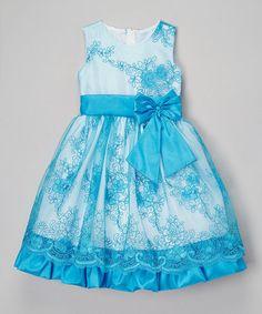 Look at this #zulilyfind! Blue Floral Lace Overlay Dress - Infant, Toddler & Girls #zulilyfinds