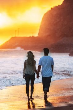 Walking together on the beach, hand in hand, watching the sunset. #perfect