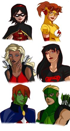 """Young JusticeRule 63!! And here's part 2! I kinda gave them voice actors, too! Google is your frieeeend if you want to know how they sound like~ XD Richelle """"Dixie"""" Mary Grayson- Laura Bailey Wilhelmina """"Wendy"""" Ruby West- Sarah Anne Williams Kaldur'ihn- Grey DeLisle Cornellia """"Connie"""" Kent/ Kon Kal-El- Karen Strassman Morgan Morse/ Mo'rrgan M'orzz- Yuri Lowenthal Apollo Liam Crock- Reuben Langdon I have this need to gender bend these guys more. XD"""