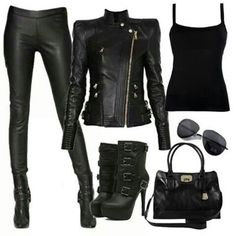 Biker chick outfit, add horns, creepy eye makeup and haunting fingers and we hav. Biker chick outfit, add horns, creepy eye makeup and haunting fingers and we have a Halloween costume Emo Outfits, Girl Outfits, Casual Outfits, Fashion Outfits, Biker Outfits, Fashion Boots, Rock Outfits, Hipster Outfits, Pastel Outfit