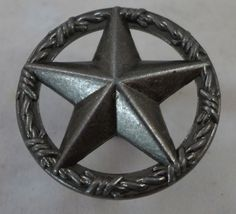 Details About Texas Star Barbwire Cabinet Drawer Knob Pull Western Decor  Old Silver