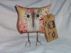 Primitive Owl Doll - Shabby Floral Faux Patchwork Calico - Tuck/Ornie/Bowl Filler. $9.99, via Etsy.