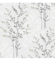 Papel pintado hojas vintages negras con fondo gris claro - 40778