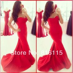 Sassy south Red Corset Mermaid Evening Gown Lace Up satin Evening Dress Women Free Shipping DEQ9 US $132.00
