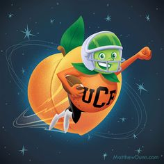 This illustration, a collaboration with Victor Davila, is another piece celebrating UCF's Peach Bowl win, this time featuring the Citronaut, our first unofficial mascot.