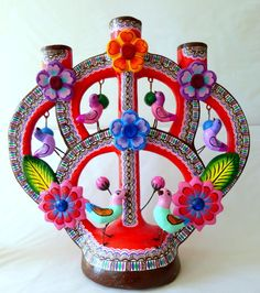 MEXICAN IZUCAR PAINTED CERAMIC TREE OF LIFE FOLK ART CANDLEHOLDER  JORGE MC 003