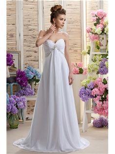 エレガントな帝国裁判所の列車ビーチダリアのビーズウェディングドレス スウィートハート WH- 0055