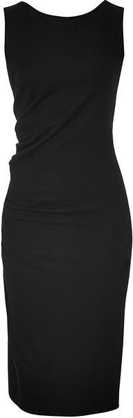 Black Draped Wool Dress