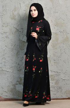 Sefamerve, Çiçek Desenli İspanyol Kol Elbise 2005-02 Siyah