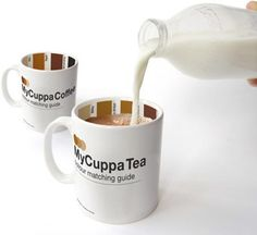 MyCuppa Mugs have a coloring guide on the inside rim to ensure the proper ratio of coffee/tea to milk. They cost about $15,