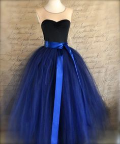 Full length navy tulle skirt. Navy tulle by TutusChicBoutique, $375.00