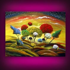 dancing lollipop tree painting large fun whimsical by mattsart, $250.00