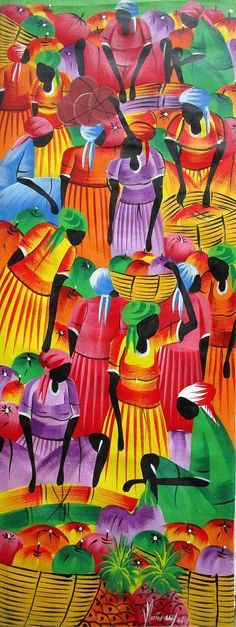 Haitian Art, Art of Haiti, Canvas Painting, Wall Decor,  Wall Art, Naive Art, Haitian Painting, Canvas Art, Original Painting, 12 x 30 by TropicAccents on Etsy  Canvas art, Wall art, Canvas wall art, Original art, Canvas painting, Haitian art, Haitian painting, Primitive art, Acrylic painting, Paintings on canvas, Haitian folk art, Original Haitian art, Haitian naïve art,