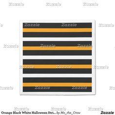 Orange Black White Halloween Stripes Paper Napkin